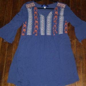 Blue Rain Embroidered Tunic